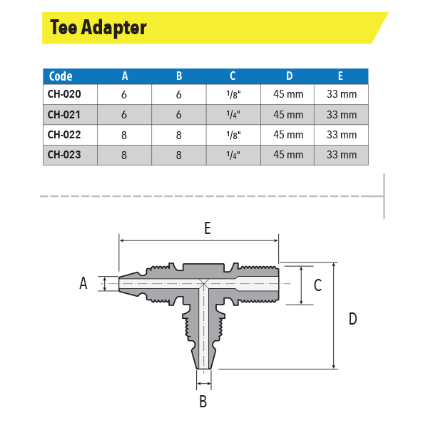 Measures Tee Adapter Male Thread